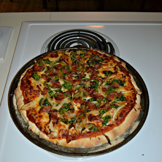 Caramelized Onion, Spinach, and Bacon Pizza