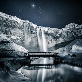Seljalandsfoss by Derek Kind - Landscapes Starscapes ( icelandic, seljalandsfoss, iceland, waterfalls, stars, waterfall, star, bridge, starscape )