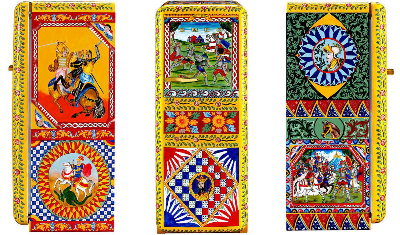 Frigoriferi smeg dipinti a mano dai fratelli Belvilacqua. Le immagini raccontano storie, tradizioni e leggende antiche e richiamano i colori siciliani, rosso, blu, verde e giallo.