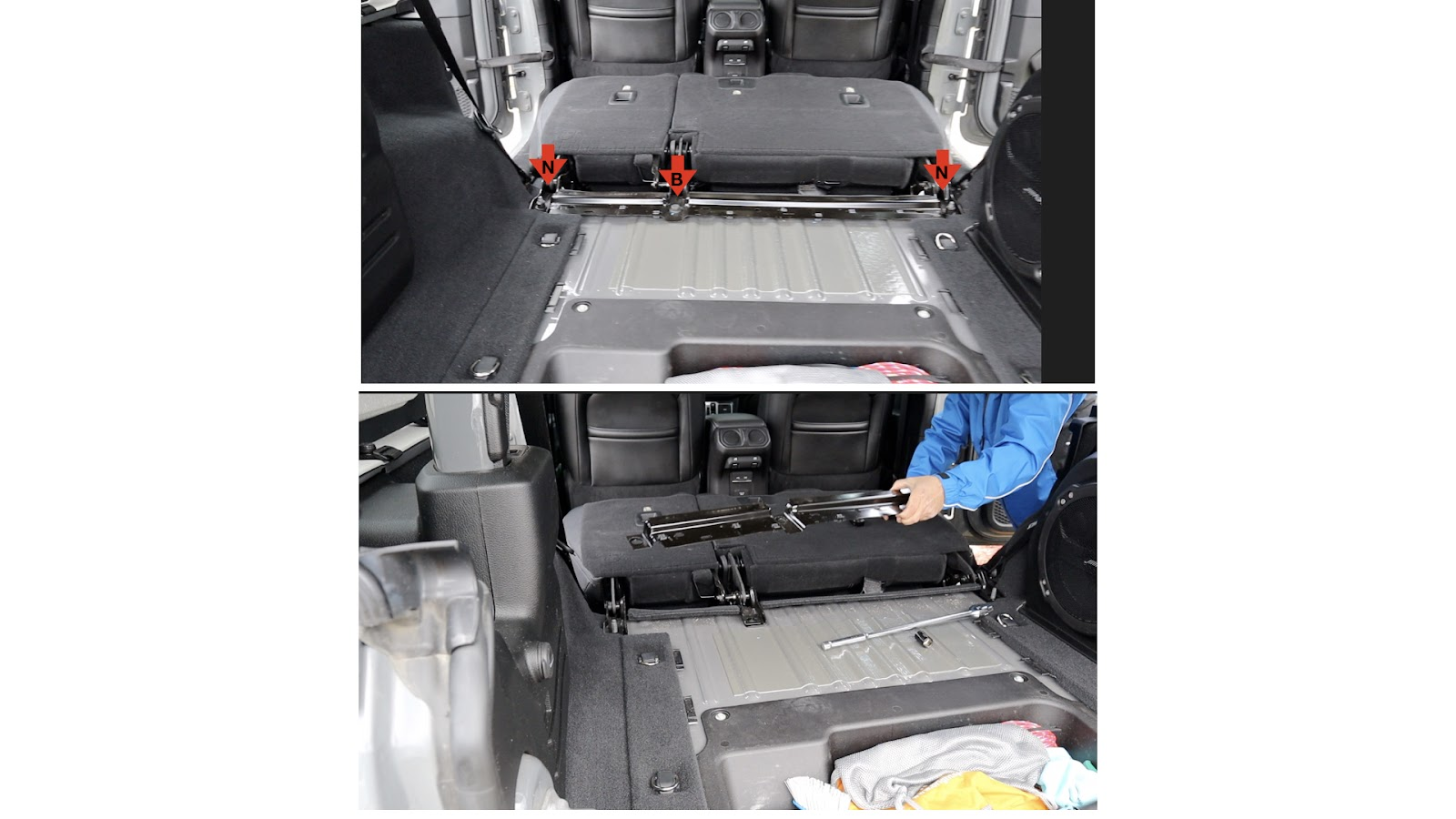Removal of Rear Bolts of Rear Seat