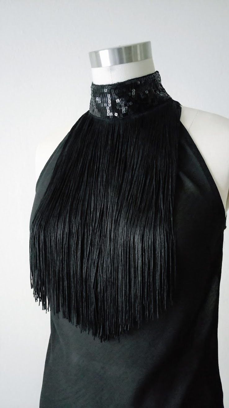 Result: DIY Halter Top with Fringe, Sequin, Lace Embellishments - DIY Fashion | Fafafoom.com
