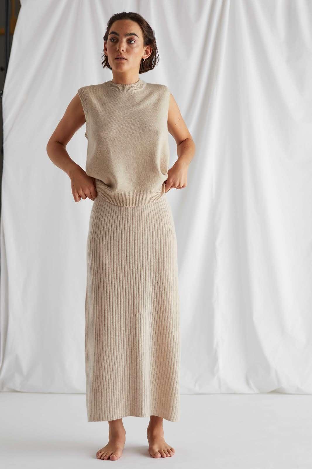 Rib A-line Skirt
