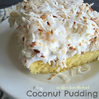 Coconut Pudding Poke Cake.