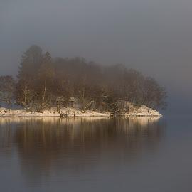 Fog on Kalandsvatnet by Espen Rune Grimseid - Landscapes Waterscapes ( kalandsvatnet, waterscapelandscape, waterscape, nature, reflections, snow, norway, lake, bergen, fog, canon )
