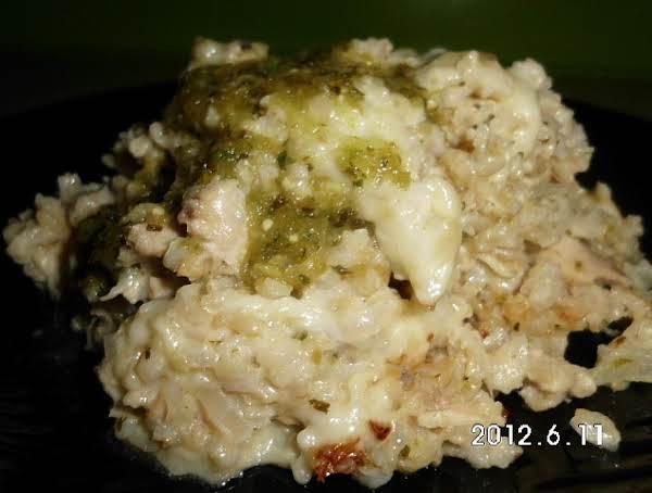 Cheesy Chicken Tomatillo Rice Casserole