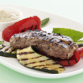 Grilled Steaks with Baba Ghanoush