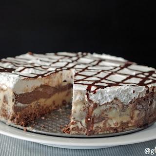 Gluten-Free, Dairy-Free Salted Caramel Truffle Frozen Dessert Cake.