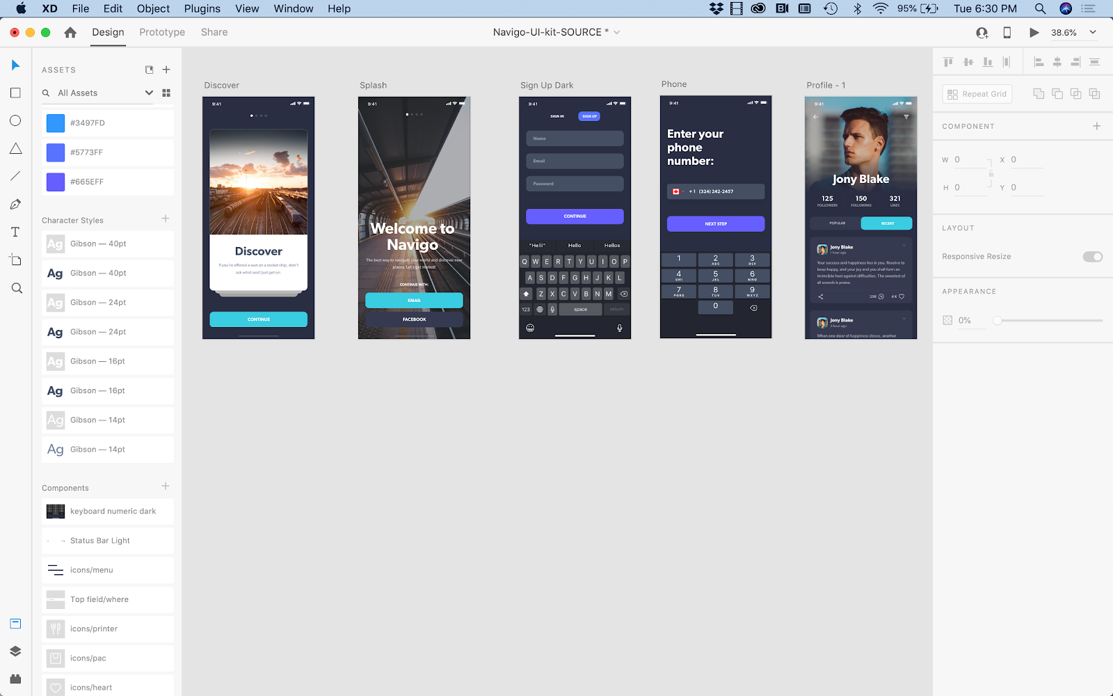 High-fidelity onboarding, sign in and user profile screens in a mobile app wireframe.
