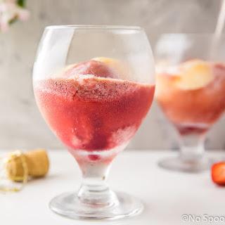 Peach Strawberry Sorbet Rosé Float.