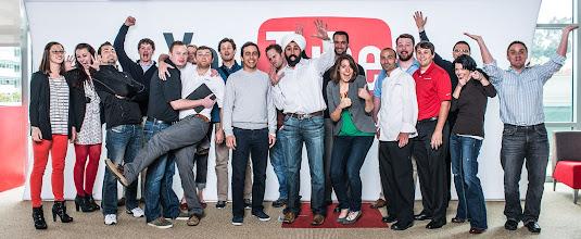 Photo: YouTubers Salar Kamangar, Baljeet Singh and Lane Shackelton take a group shot with our YouTube Marketing Ambassadors. Credit: Bryan Davis