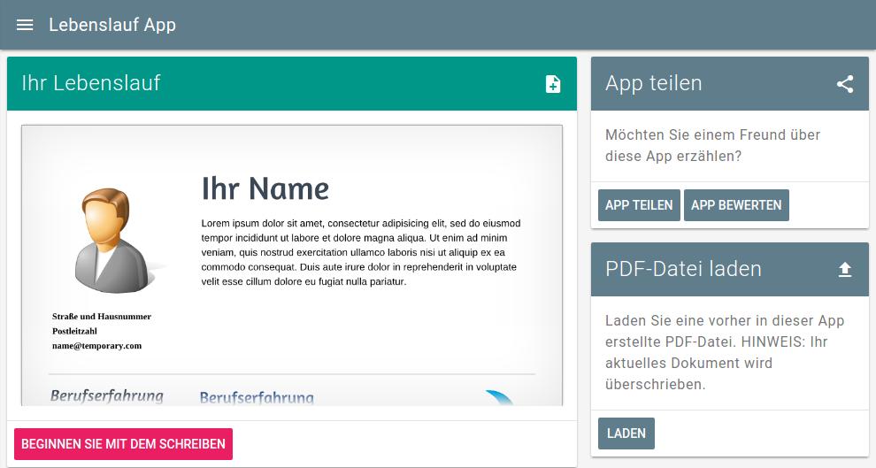 anschreiben fr bewerbung als pdf druckvorlage lebenslauf app screenshot - Online Bewerbung Pdf