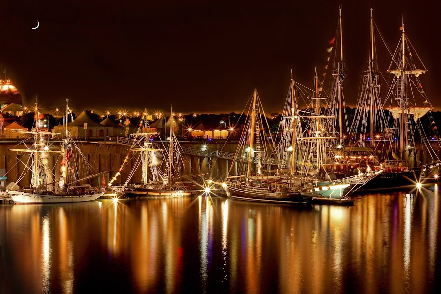 Montreal Tall Ships by Khmer Pryd Mike - Landscapes Starscapes ( water, reflection, warm, boats, night, ships )