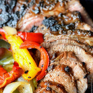 Grilled Tri-Tip with Onions and Peppers.