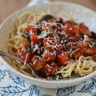Spaghetti with Turkey and Kale Bolognese.