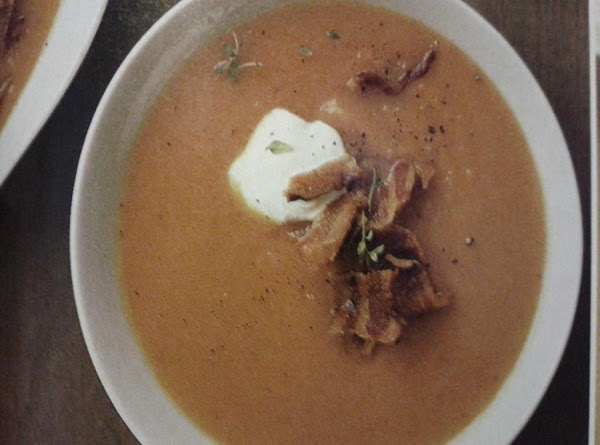 Serve soup with sour cream and crispy bacon.