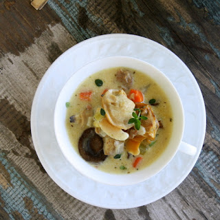 New England Style Clam Chowder with Andouille Sausage, Fresh Corn and Mushrooms