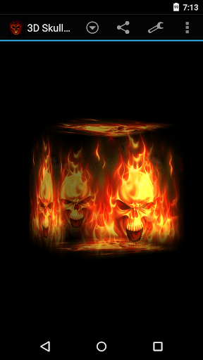3D Skulls on fire Wallpaper