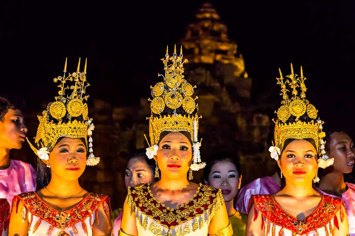 Apsara-Dance-Siem-Reap - Watch a traditional Apsara Dance performance at Banteay Samre Temple at night during a Lindblad Expeditions tour of Angkor, Siem Reap, Cambodia.