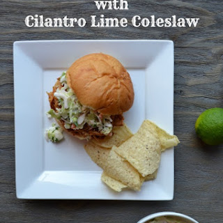 Slow Cooker Pulled Pork with Cilantro Lime Coleslaw Recipe