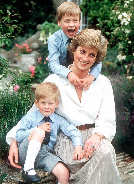 Princess Diana with 2 Sons, William (top) and Harry (bottom)
