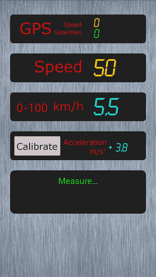 Measure acceleration Demo- screenshot