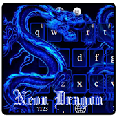 Neon Blue Dragon Typewriter