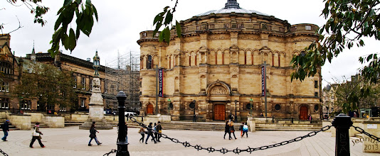 Photo: The building's namesake, Sir William McEwan, was founder of the well known Edinburgh brewing firm. He was an MP for Central Edinburgh, an art connoisseur and noted philanthropist.  The magnificent D-shaped hall was designed in 1874. It features two semi-circular galleries served by a pair of clever spiral stairs, each arranged as a double helix with separate interlocked spirals.  McEwan Hall was the main concert venue in Edinburgh until 1914, when Usher Hall was constructed with funding from a rival Edinburgh brewer.