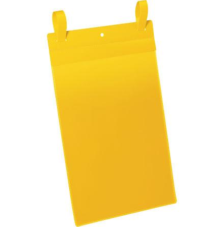 Plastficka A4S m. fästband gul