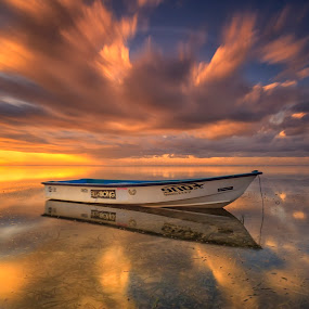 Under the Draged Cloud by Bayu Adnyana - Transportation Boats ( bali, sanur, long exposure, seascape, sunrise, beach, landscape, boat )