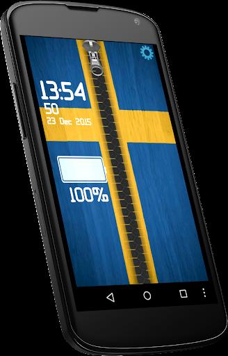 Sweden flag zipper lock screen