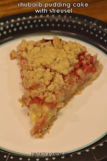Rhubarb Pudding Cake with Streusel