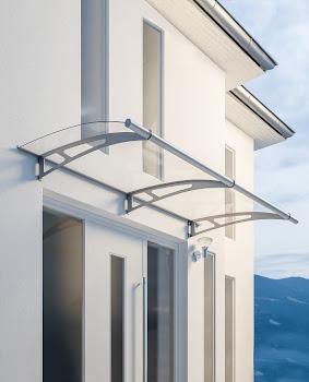 Module de base XL pour auvent marquise de porte, verre acrylique, fixation inox, 287 x 142 cm