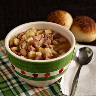 Smoky Ham, Bean and Sweet Potato Soup.