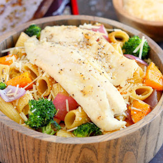 Tilapia with Roasted Vegetable Pasta.