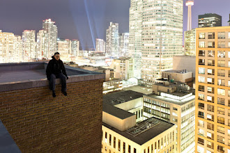 Photo: Will you come with me And we'll be ourselves And we'll walk into the light And you can colour yourself In golden wings  Thanks to +Ronnie Yip for acting as my remote shutter release. To all you worried parents out there...without giving anything away...this shot is not as dangerous as it looks.  Tags: #rooftopping, #toronto, #skyline, #selfportrait, #urbex, #urbanexploration