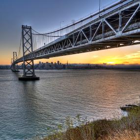 Sunset by Gerardo Robledo - City,  Street & Park  Vistas ( vistas, sunset, bay bridge, san francisco, city )
