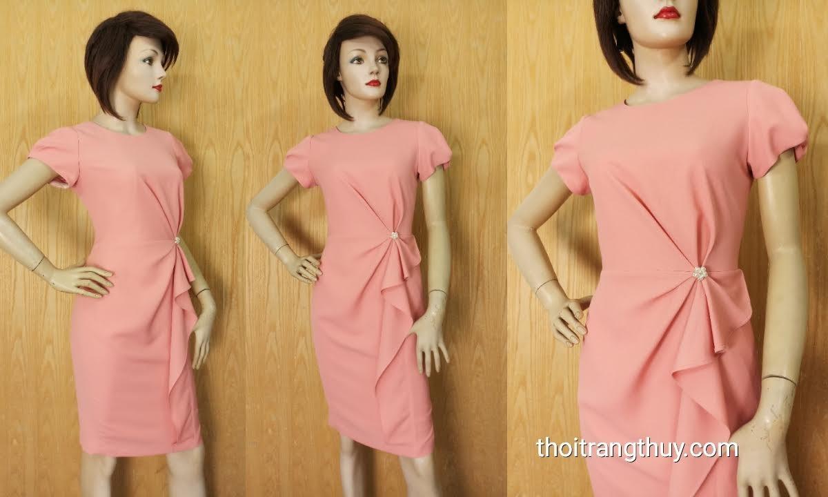 Váy dự tiệc xếp ly hoa eo màu hồng thạch anh V626 Thời Trang Thủy