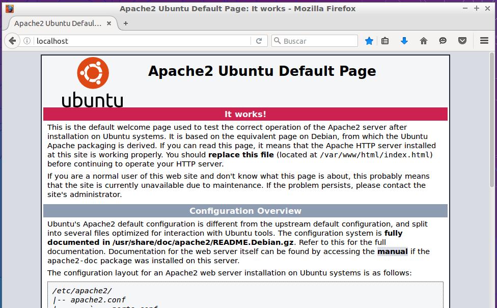 Página predeterminada de Apache2