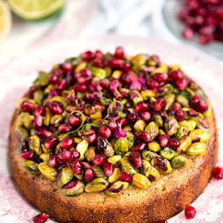 Pistachio and Lime Syrup Cake with Pomegranate