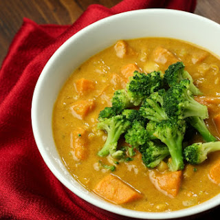 Sweet Potato and White Bean Curry Soup with Roasted Broccoli.