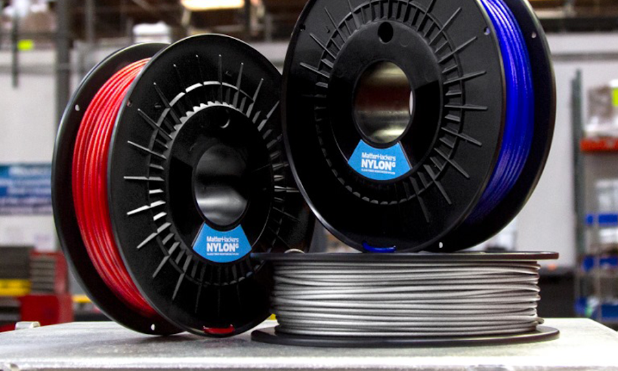 MatterHackers' NylonG is made out of Polyamide and reinforced with glass fibers to increase tensile strength and absorb large amounts of kinetic energy.