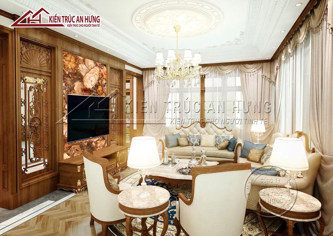 Phòng khách được thiết kế đơn giản, giúp tôn lên vẻ đẹp của các món đồ nội thất và theo hướng mở với hệ thống cửa sổ xung quanh giúp mang lại ánh sáng và bầu không khí thoáng đãng