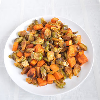 Smokey Roasted Brussel Sprouts and Sweet Potatoes.