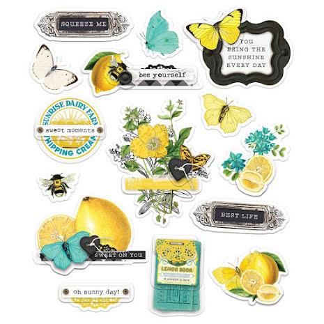 Simple Stories Layered Stickers 15/Pkg - SV Lemon Twist