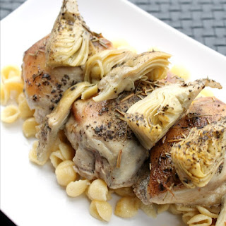 Slow Cooker Rosemary Artichoke Chicken Thighs.