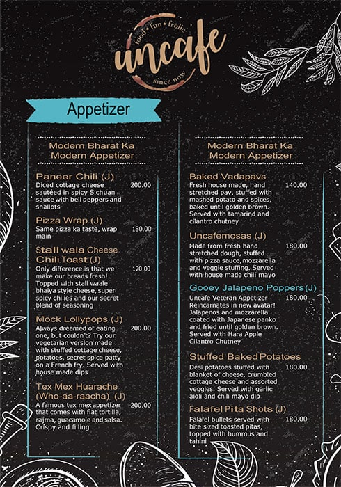 Uncafe menu 3