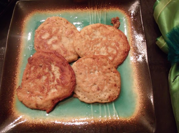 All these pics are mine. I actually made these tonight :) I put all of them on a big plate while I am frying and then we use the smaller plates to serve members of the family. We all like different toppings on them. Dec 2 2012.