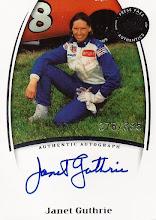 Photo: Janet Guthrie 2007 Press Pass Legends Autographs Blue auto (#376/385)