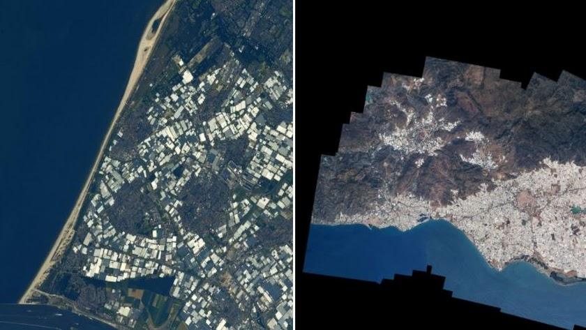 Imagen compartida por el astronauta francés en la que se ven invernaderos de Westland y de El Ejido.