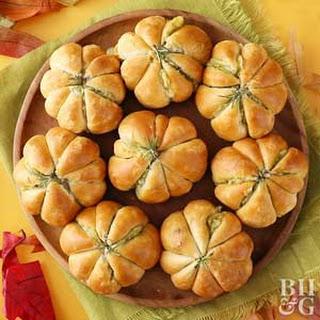 Pumpkin-Shape Meatball Biscuits.